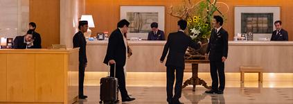 Business men in lobby